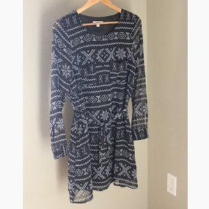 Jack by BB Dakota L/S Aztec Print Dress Ties